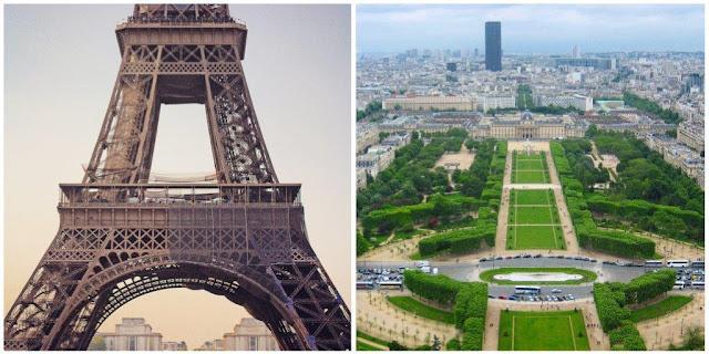 Torre Eiffel en París – Vistas desde la Torre Eiffel Campo de Marte, École Militaire, Torre Montparnasse
