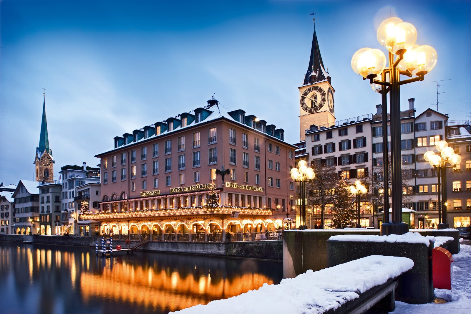 Zurich city and the Limmat river in winter