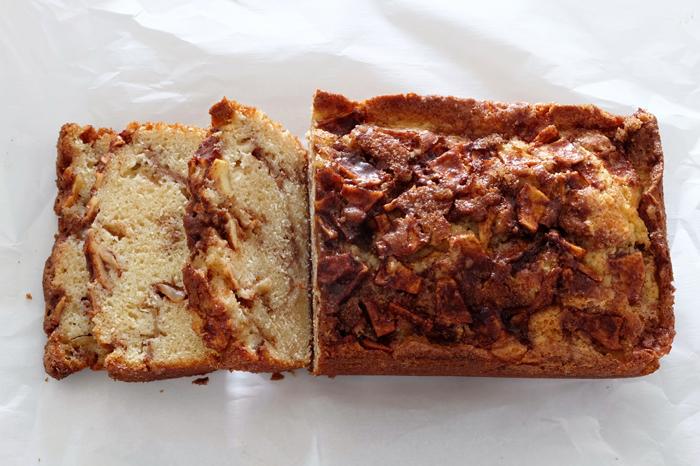 sliced apple fritter bread loaf