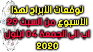 توقعات الأبراج لهذا الأسبوع من السبت 29 اب الى الجمعة 04 ايلول 2020
