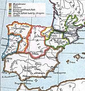 A map of the Iberian peninsula in 1210 CE. The bottom half is largely taken up by Muslim territory, which extends across the Strait of Gibraltar into Africa. The northern half of what is now Portugal has become the earliest beginnings of that nation. Around it on the north and east is León. The east of León is Castille. East of Castille is Aragón, with the smaller kingdom of Navarre squished between them in their northern halves. To the east of Aragón is an area containing Barcelona and portions of southern France which is somewhat confusingly labelled on this map.