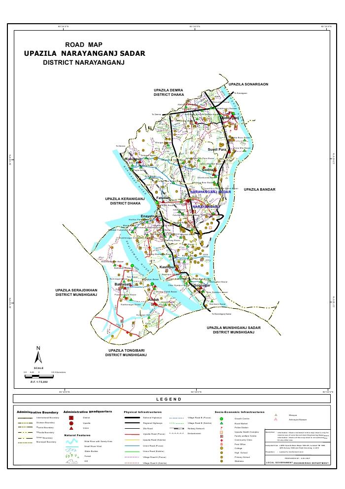 Narayanganj Sadar Upazila Road Map Narayanganj District Bangladesh