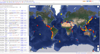 Earthquakes and volcanos map