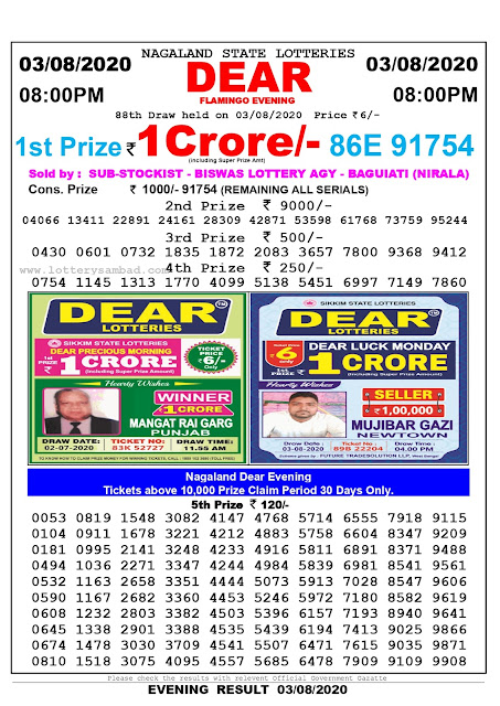 Nagaland State Lottery Sambad 03-08-2020 Today Result 8 PM