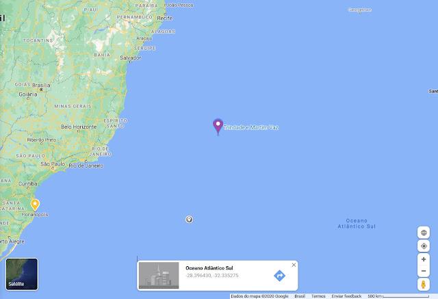Localização do Arquipélago de Trindade e Martim Vaz