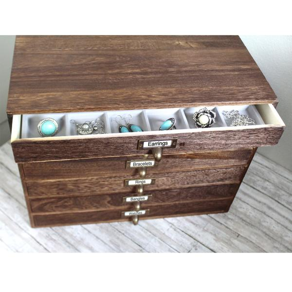 Organize your jewelry with the Brown Jewelry Storage Organizer with Metal Label Holder | NileCorp.com