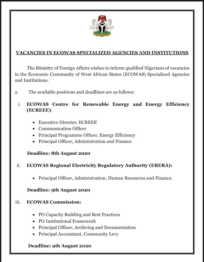 Update: New Job alert in ECOWAS specialized Agencies and institution.