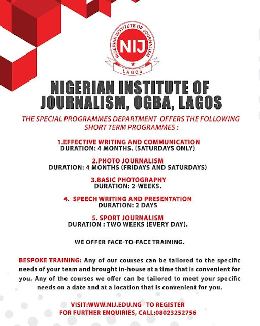 NIJ Special Programmes Training Admission Form 2019/2020