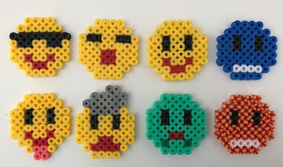 Hama bead Emoji themed magnets craft