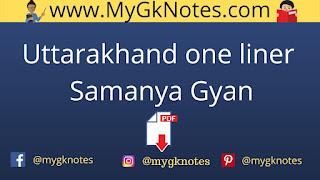 Uttarakhand one liner samanya gyan