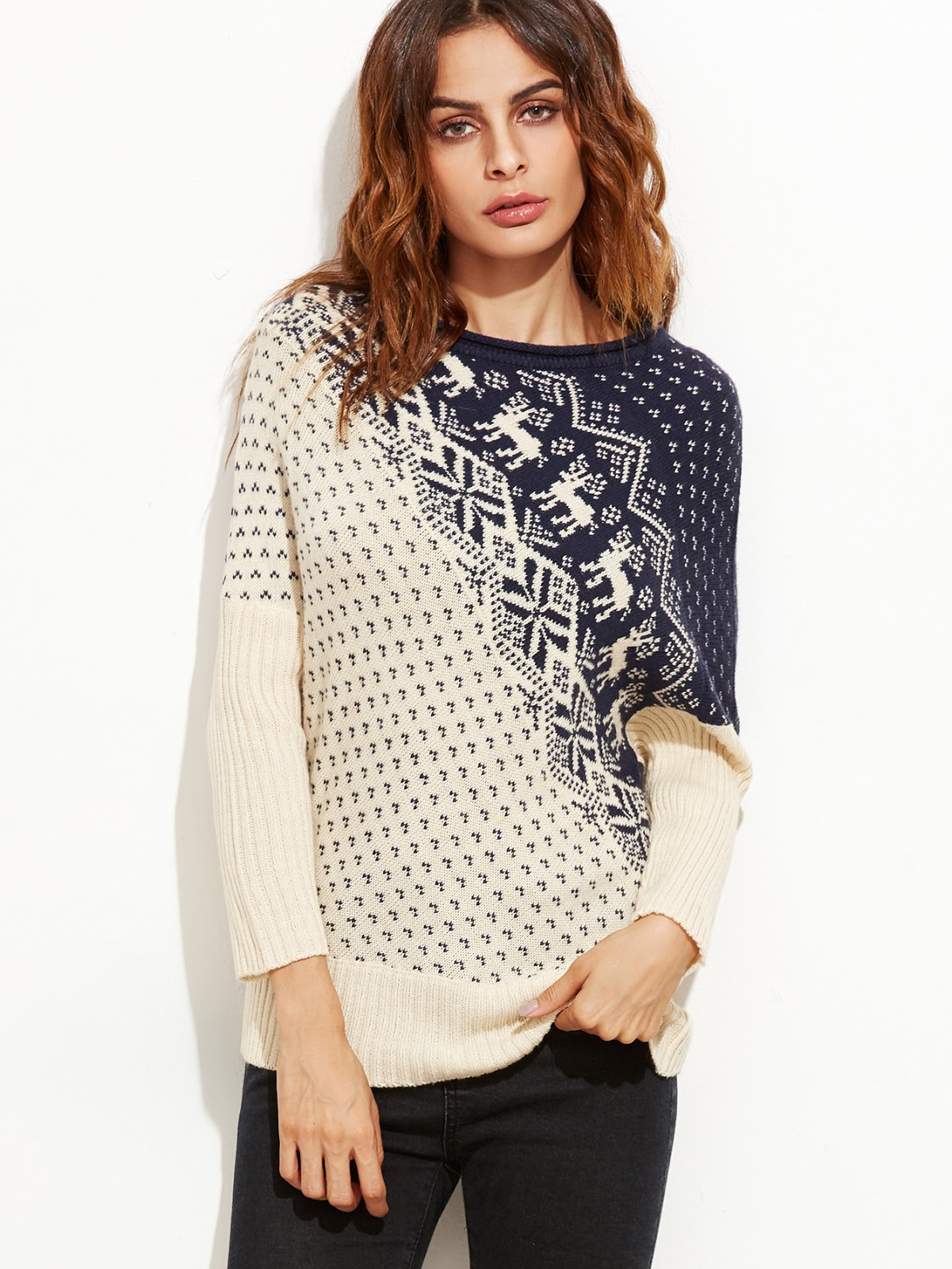 Contrast Dolman Sleeve Christmas Sweater