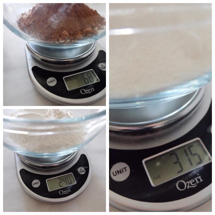weighing ingredients