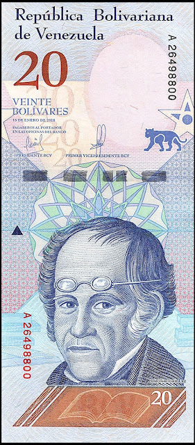 Venezuela Currency 20 Bolivares Soberanos banknote 2018 Simon Rodriguez