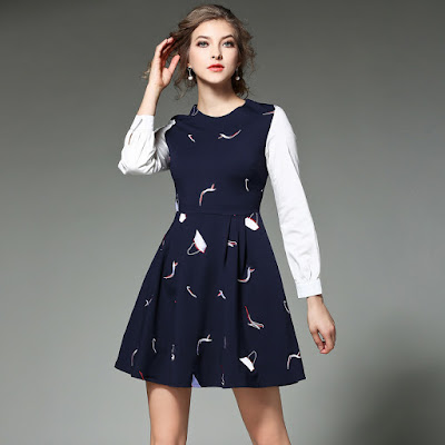 Embroidery Women Casual A Line Dress