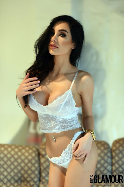 Ann Denise White Lingerie sexy big boobs hair on face