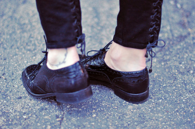 black patent leather oxford lace ups, lace up jeans