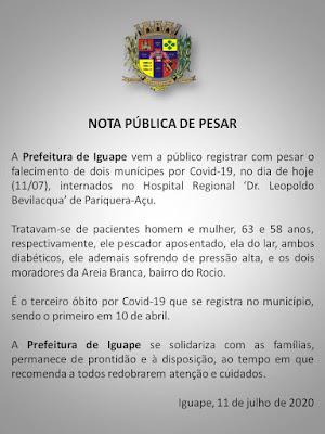 Iguape registra mais duas mortes por Coronavirus - Covid-19 neste 11/07