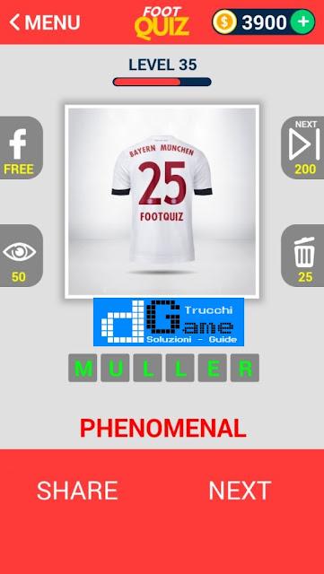 FootQuiz Calcio Quiz Football ( SHIRT) soluzione livello 31-40