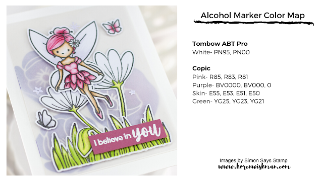 Simon Says Stamp, Fairy Tale Spinners, Poppy Bouquet, fairy, butterflies, grass, greeting card, off white, vellum, alcohol markers, Koren Wiskman, I believe in you, pink, green, purple, flowers, white, stars