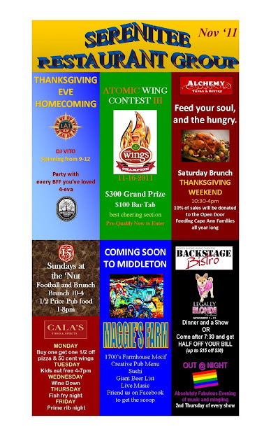 Serenitee Restaurant Group Company Wide Monthly Events Poster