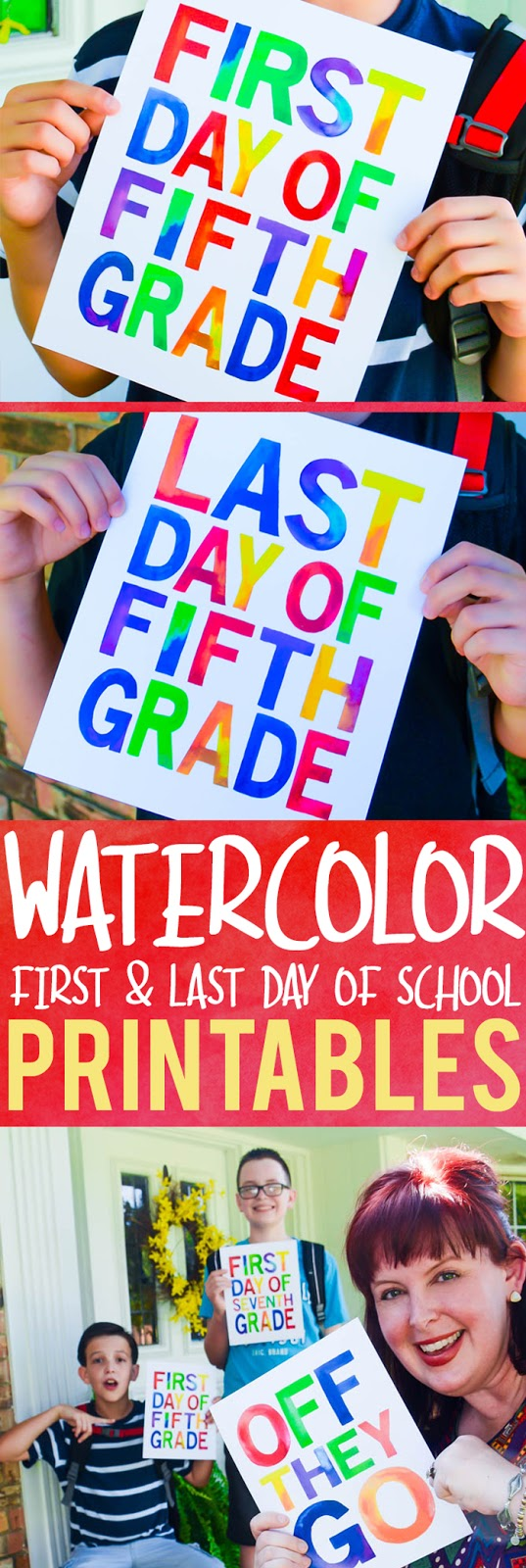 First and last day of school watercolor printables...with FUN bonus printables for parents and guardians! Entire pack includes grades 1-12, preschool, pre-k, and kindergarten.