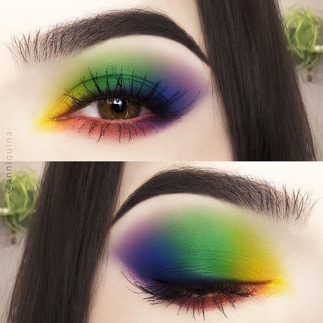Maquiagem sombra azul verde amarelo