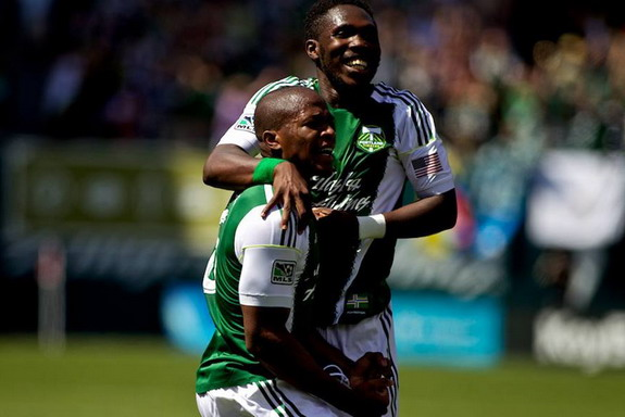 Portland Timbers player Darlington Nagbe celebrates after scoring the winner against FC Dallas