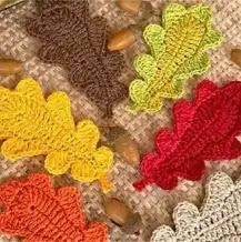 Aplique Hojas de Bellota a Crochet