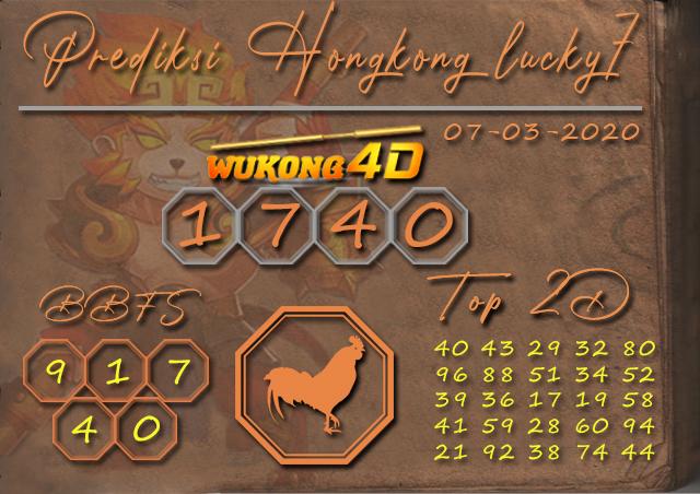 Prediksi Togel HONGKONG LUCKY 7 WUKONG4D 07 MARET 2020
