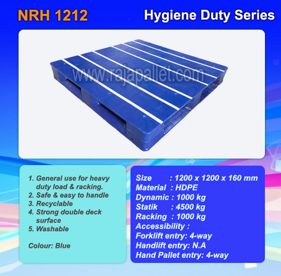 Pallet Plastik  NRH 1212 | Harga Pallet Hygiene Duty