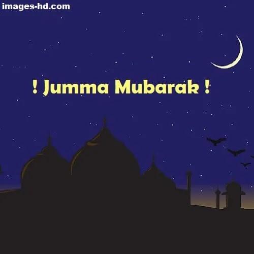 masjid on night with half moon as Jumma Mubarak DP