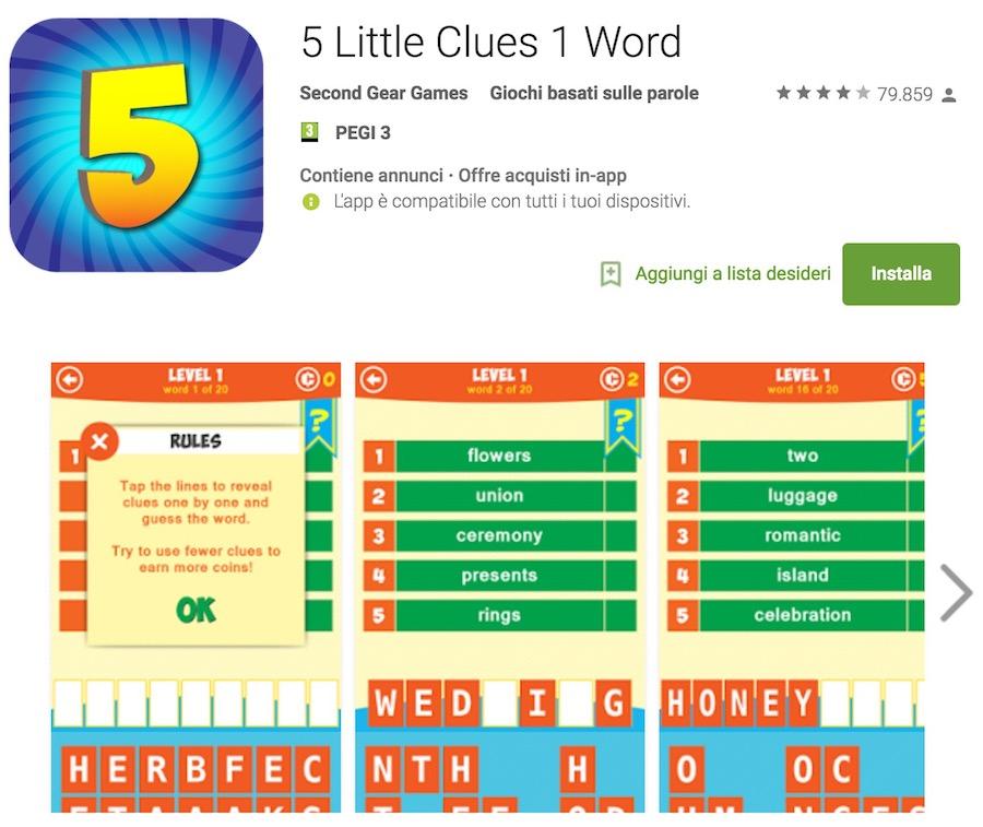 5 Little Clues 1 Word Soluzioni di tutti i livelli