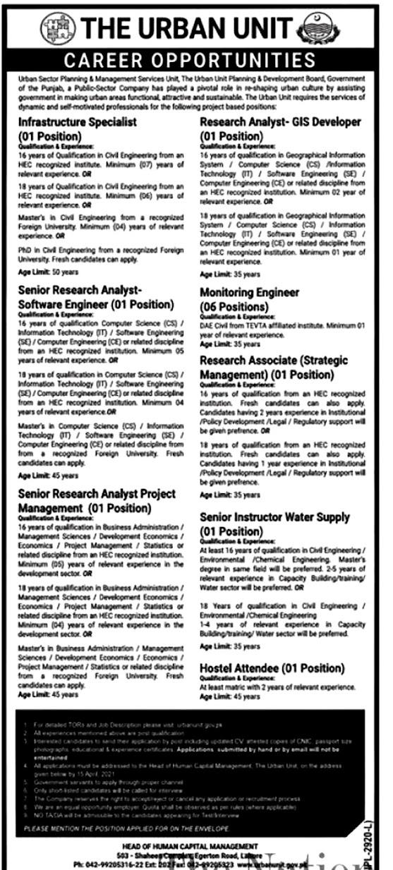 Latest Jobs in  Planning & Development Department Board  The Urban Unit Lahore Punjab -2021