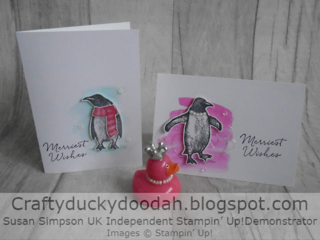 Christmas 2019, Craftyduckydoodah!, Playful Penguins, Stamp 'N Hop October 2019, Supplies available 24/7 from my online store, Susan Simpson UK Independent Stampin' Up! Demonstrator, Water colour background