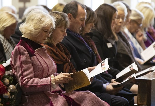 The Duchess of Cornwall attended the Brooke charity Christmas Carol Service at Guards' Chapel