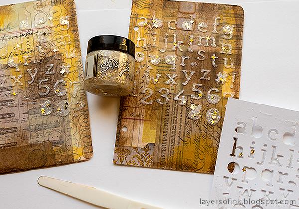 Layers of ink - DIY Bird Notebooks Tutorial by Anna-Karin Evaldsson. Apply Nebula Stickles Glitter Gel.