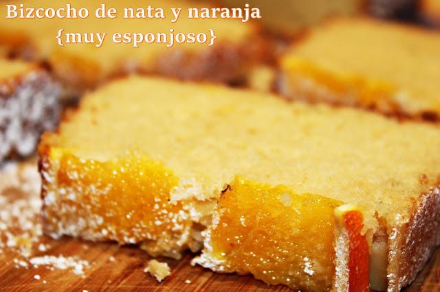 BIZCOCHO DE NATA Y NARANJA {MUY ESPONJOSO}