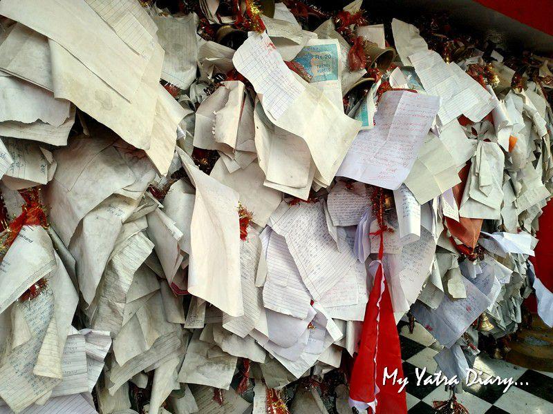 Handwritten letters at Chitai Golu Devta Temple Almora Uttarakhand