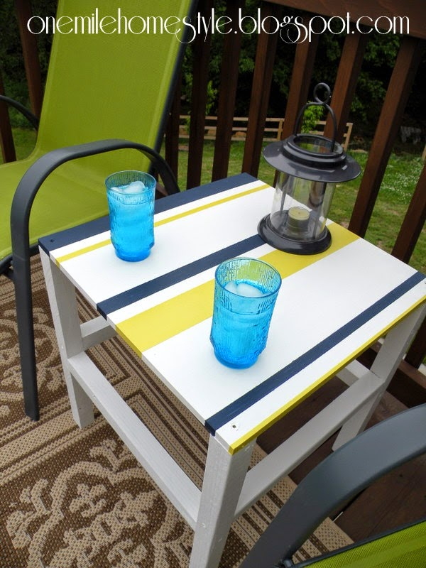 White, Navy and Citron striped outdoor table - deck space