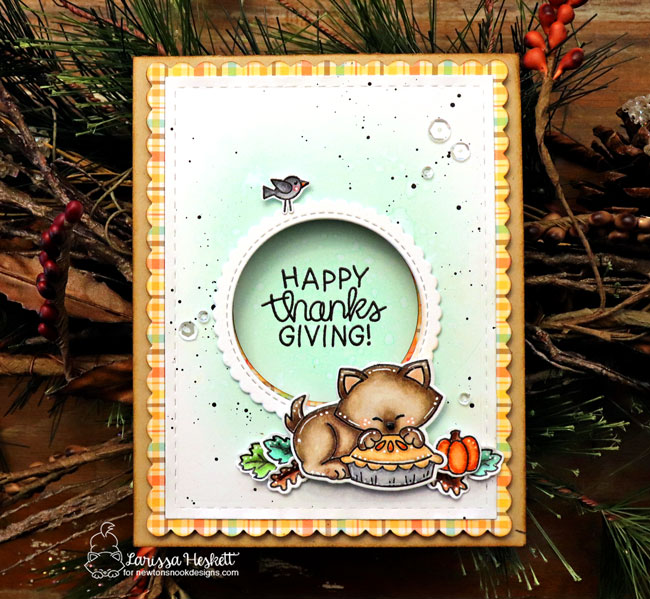 Thanksgiving cat card by Larissa Heskett | Newton's Thanksgiving Stamp Set and Pumpkin Patch Stencil by Newton's Nook Designs #newtonsnook #handmade
