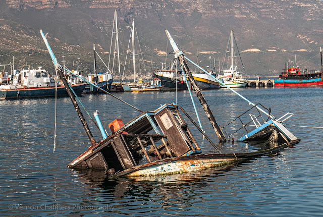 Sunken Fishing Boat in Hout Bay Harbour Cape Town