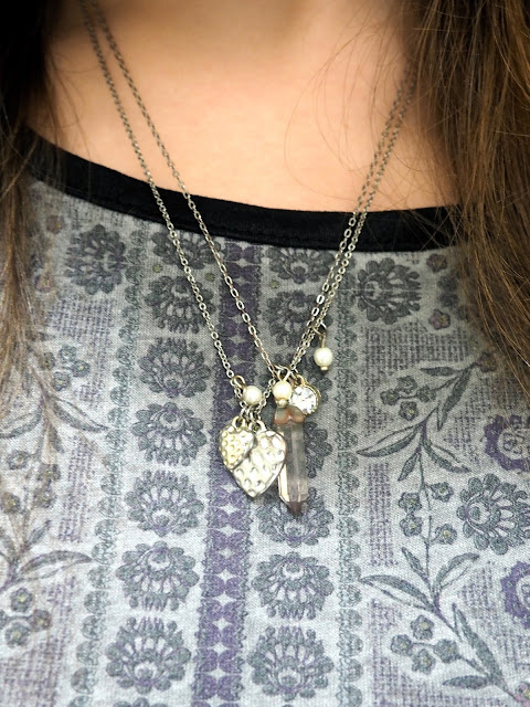 Laced Up | outfit jewellery details of layered silver necklaces with heart and gem pendants