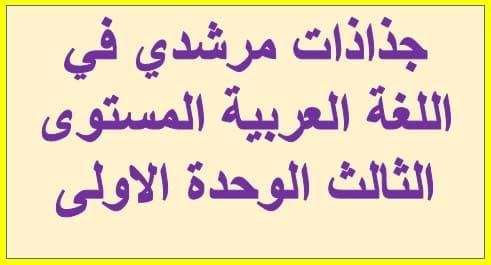 جذاذات مرشدي في اللغة العربية المستوى الثالث الوحدة الاولى