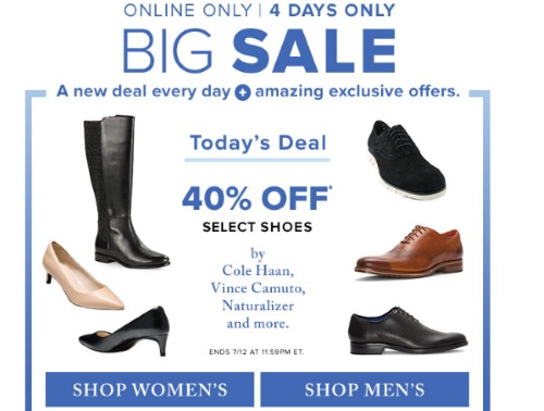Hudson's Bay Big Sale 40% Off Select Shoes
