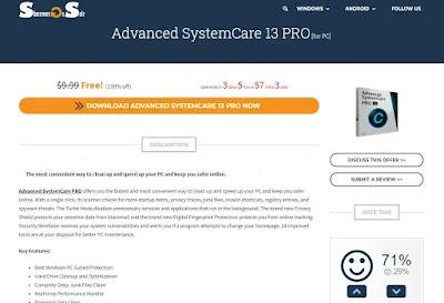 Advanced SystemCare 13 Pro Gratis di SharewareOnSale - Cara 1