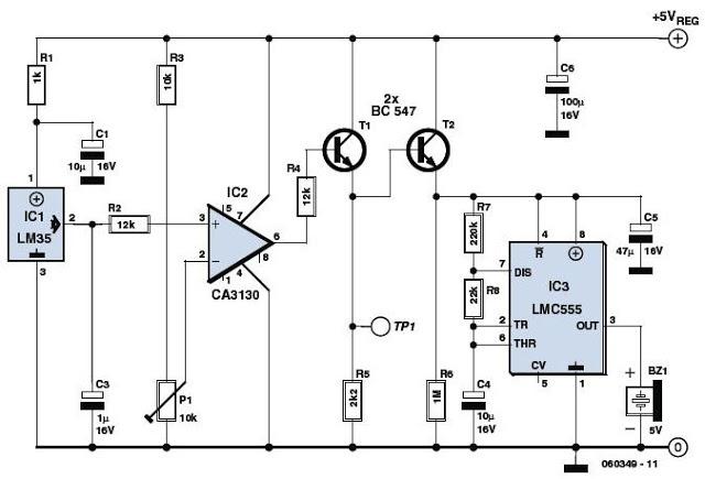 Sensor IC LM35 based Overheat Detector Alarm Switch