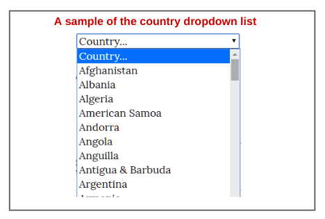 A sample of country dropdown list