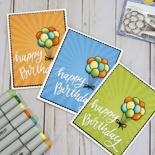 Sunny Studio Stamps: Floating By Blooming Frame Die Frilly Frame Dies Birthday Card by Mindy Baxter