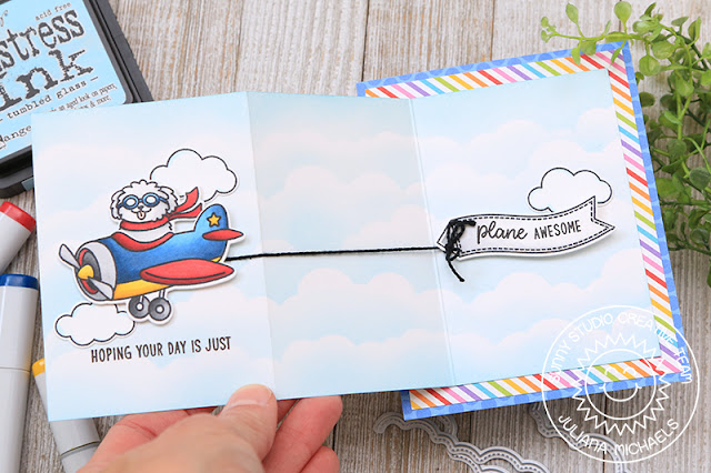 Sunny Studio Stamps: Plane Awesome Fluffy Clouds Border Dies Hope Your Day Is Awesome Card by Juliana Michaels
