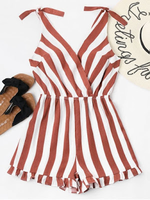 Striped Ruffle Hem Romper - Cherry Red